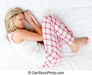 het charmeren, jonge vrouw , slapende, op, een