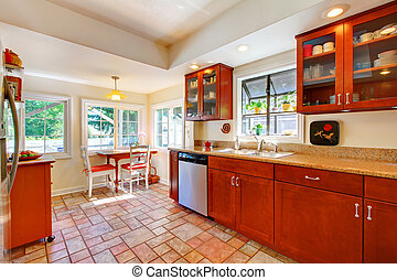 het charmeren, kers, hout, keuken, met, tegel, floor.