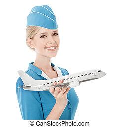 het charmeren, stewardess, vasthouden, vliegtuig, in, hand.,...
