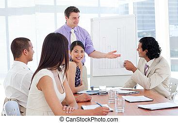 het charmeren, zakenman, doen, een, presentatie