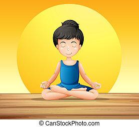 het concentreren, terwijl, yoga, meisje