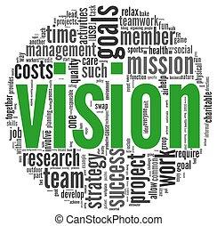 het concept van de visie, in, woord, label, wolk