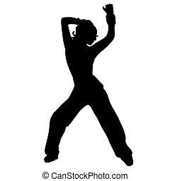het dansen., dans, silhouette., straat, pens, gaan, meisje