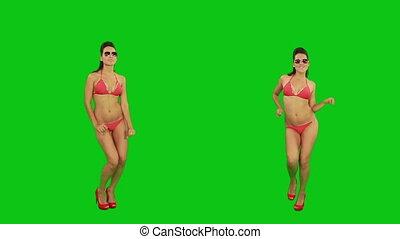 het dansen., scherm, groene, bikini, meisje