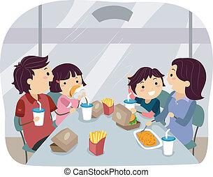 het dineren, fastfood, gezin