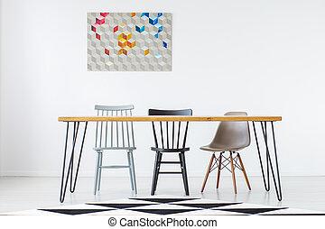 het dineren, geometrisch, schilderij, kamer