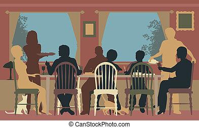 het dineren, gezin