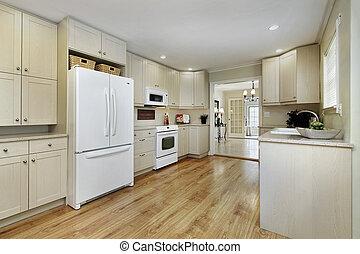 het dineren, keuken, kamer, aanzicht
