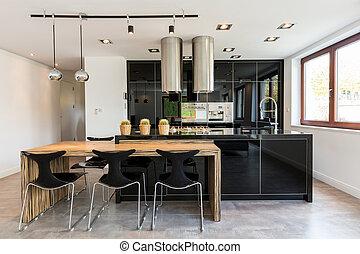het dineren, keuken, open, kamer, gecombineerd