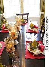 het dineren, uitmaken, tafel