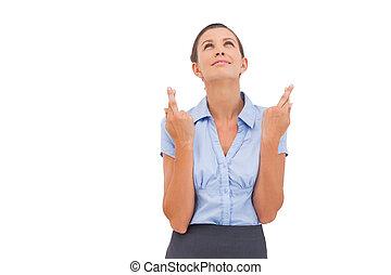 het dit wensen, businesswoman, met vingers, gekruiste