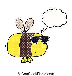 het dragen van zonnebril, bij, gedachte bel, spotprent