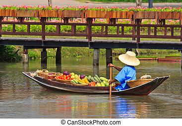 het drijven markt, thailand