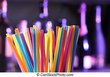 het drinken stro, op, een, bar