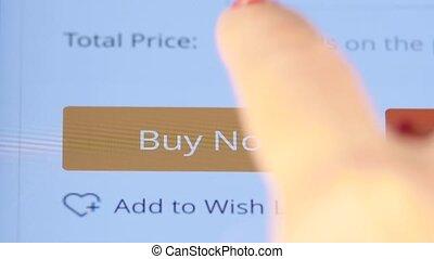 het drukken van de knoop, op, de, scherm, te kopen, nu