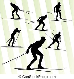 het dwarsland skiën, vector, achtergrond, met, zon