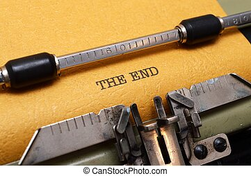 het eind, tekst, op, typemachine