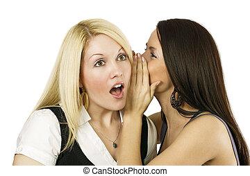 het fluisteren, vrouwen, twee, geheimen
