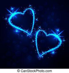het fonkelen, 2, hartjes, op, donkere achtergrond
