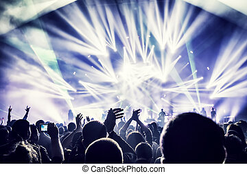 het genieten van, concert, menigte