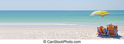 het genieten van, een, dag op het strand