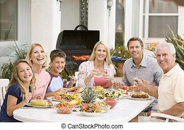 het genieten van, gezin, barbeque