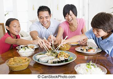 het genieten van, maaltijd, gezin, samen