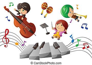 het genieten van, muziek, spelend, geitjes