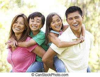 het genieten van, park, dag, gezin