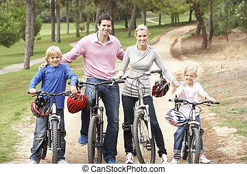 het genieten van, rijden, fiets, park, gezin
