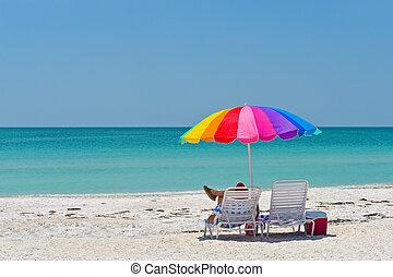 het genieten van, strand, dag