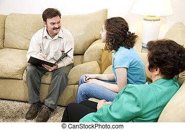 het geven, gezin, therapist
