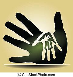 het geven, handen