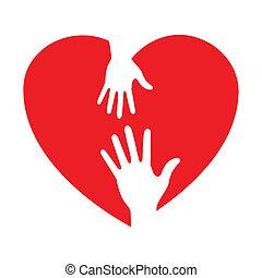 het geven, hart, pictogram, handen