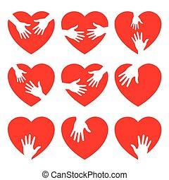 het geven, hart, set, handen, negen, pictogram