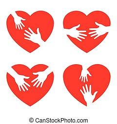 het geven, hart, set, pictogram, handen
