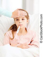 het geven, moeder, ziek, thermometer, kind, meisje