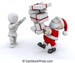 het geven van giften, kerstman