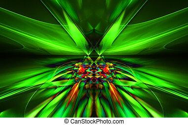 het glanzen, een, fantastisch, groene, lijn, in, een, furieus, motie, symmetrically, gaan, achter, de, horizon., fractal, kunst, graphics.
