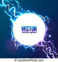 het glanzen, elektrisch, lightning, witte cirkel, frame