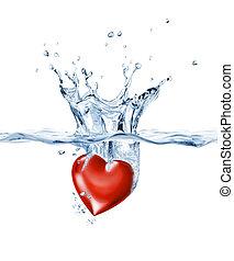het glanzen, hart, het bespaten, in, duidelijk, water.