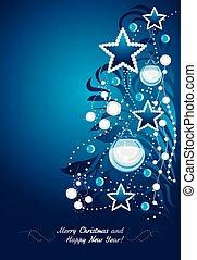 het glanzen, kerstmis, boom., postkaart