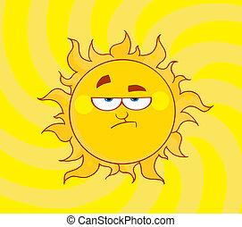 het glanzen, verlaging, zon