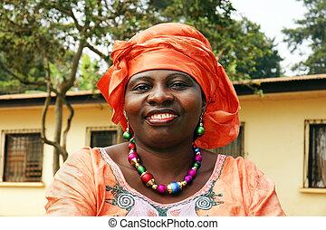 het glimlachen, afrikaanse vrouw, in, sinaasappel, sjaal