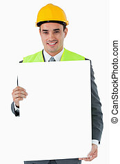 het glimlachen, architect, vasthouden, meldingsbord