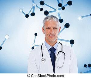 het glimlachen, arts, staand, met, stethoscope, op, zijn, hals