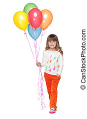 het glimlachen, ballons, klein meisje