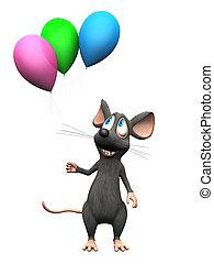 het glimlachen, balloons., muis, spotprent, vasthouden
