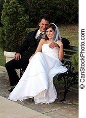 het glimlachen, bruiloftspaar