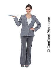 het glimlachen, businesswoman, vasthouden, tablet, computer